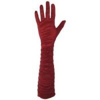 Перчатки атласные, длинные, красные